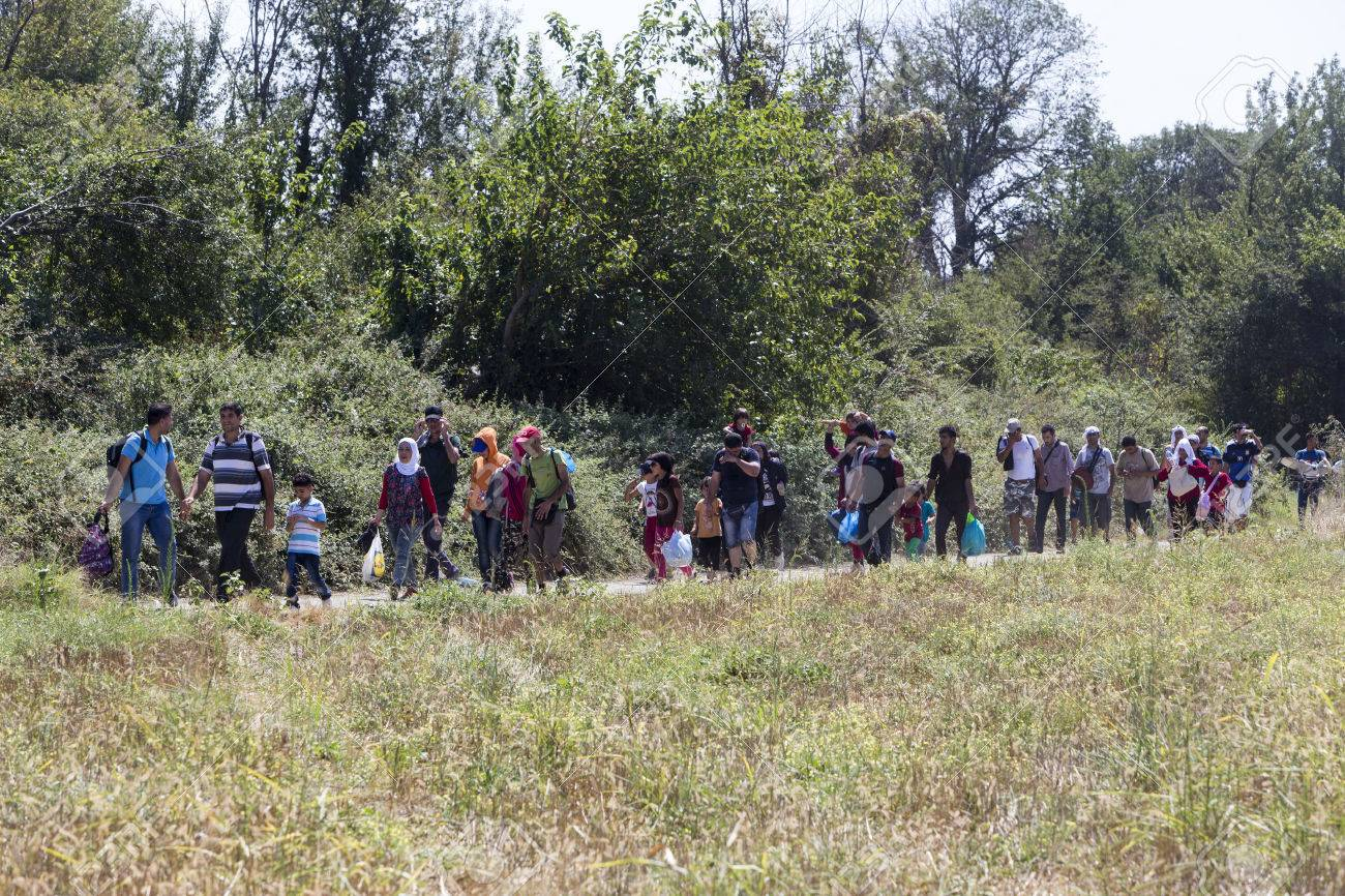 Idomeni, Greece - August 19 , 2015: Hundreds of immigrants are in a wait at the border between Greece and FYROM waiting for the right time to continue their journey from unguarded passages Standard-Bild - 44215088