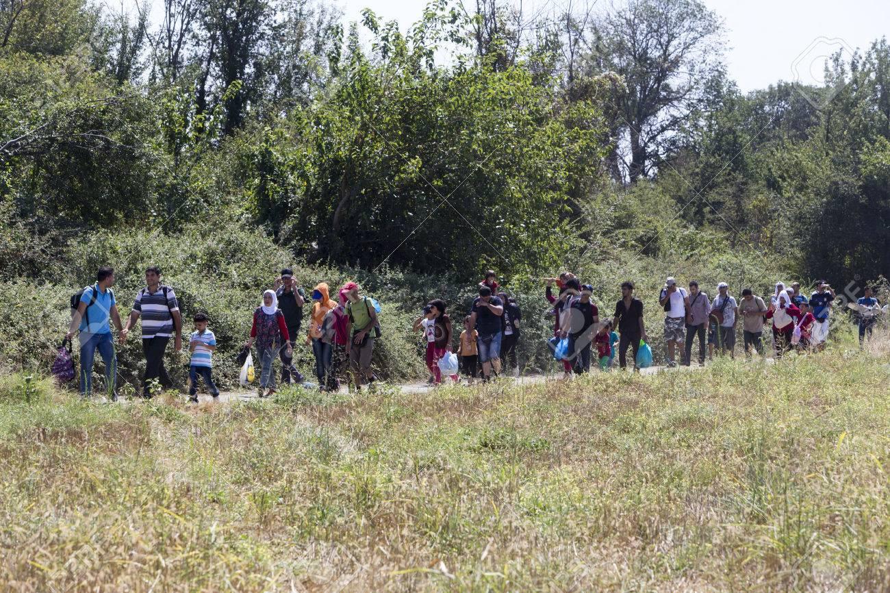 Idomeni, Griechenland - 19. August 2015: Hunderte von Immigranten in einer Wartezeit an der Grenze zwischen Griechenland und der ehemaligen jugoslawischen Republik Mazedonien wartet auf die richtige Zeit, um ihre Reise von unbewachten Passagen weiter Standard-Bild - 44215088