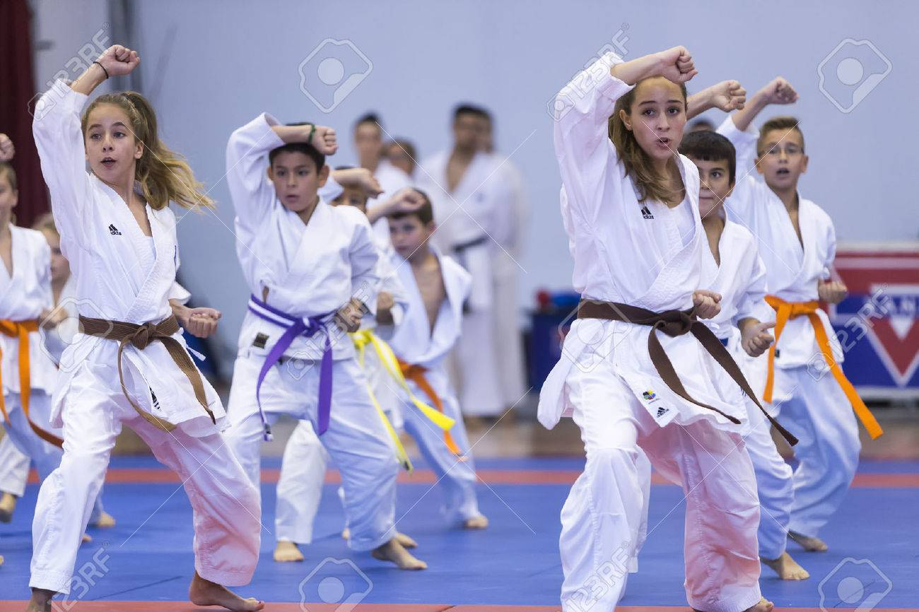 Thessaloniki, Greece, Oktober18 2015: Demonstration by men and women faculties of Japanese traditional martial arts, judo, karate, aikido, kendo Banque d'images - 46841326