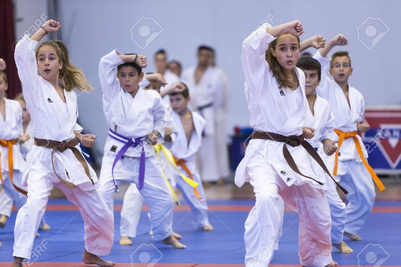 Thessalonique, Grèce, Oktober18 2015: Démonstration par les hommes et les femmes facultés des arts japonais traditionnels martiaux, le judo, le karaté, l'aïkido, kendo Banque d'images - 46841326