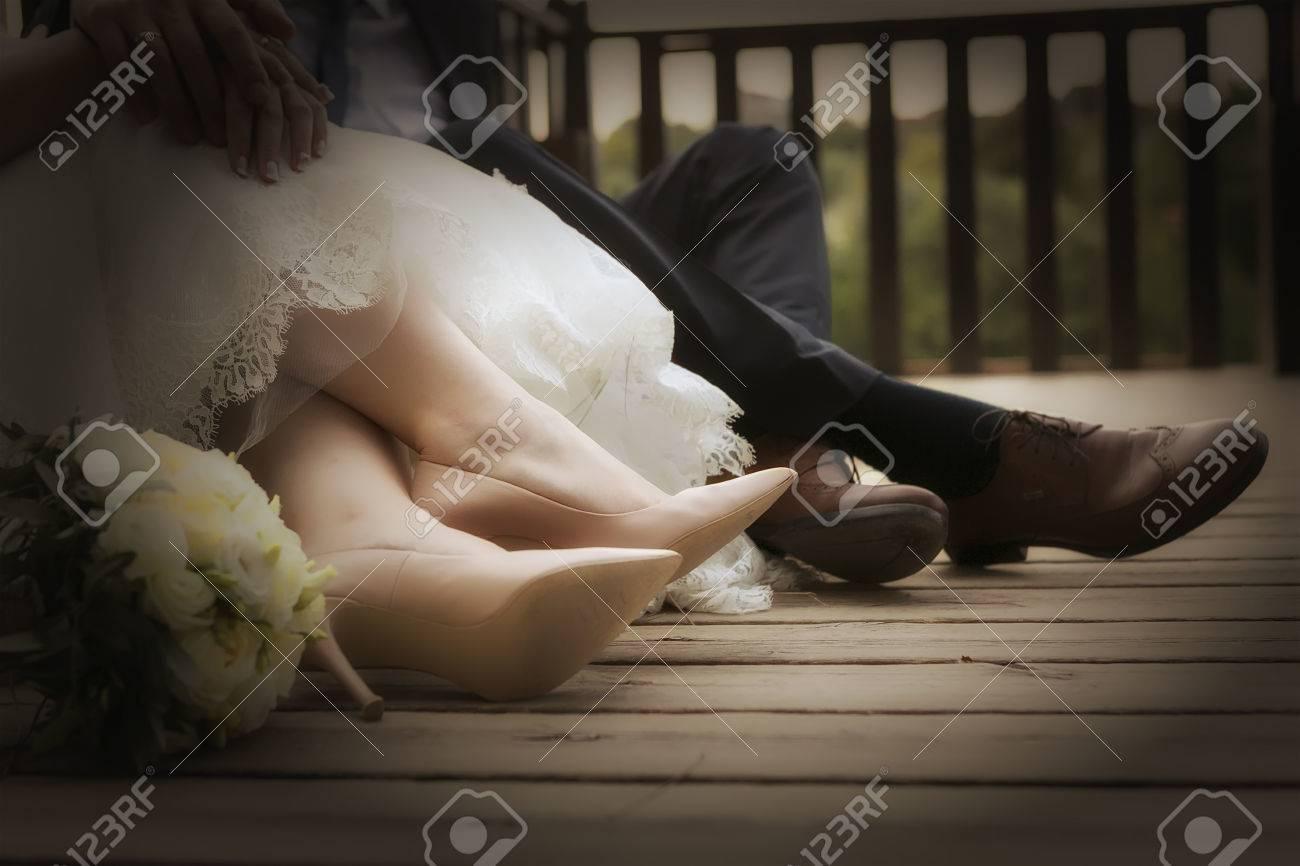 Fusse Von Braut Und Brautigam Hochzeitsschuhe Soft Fokus Cross