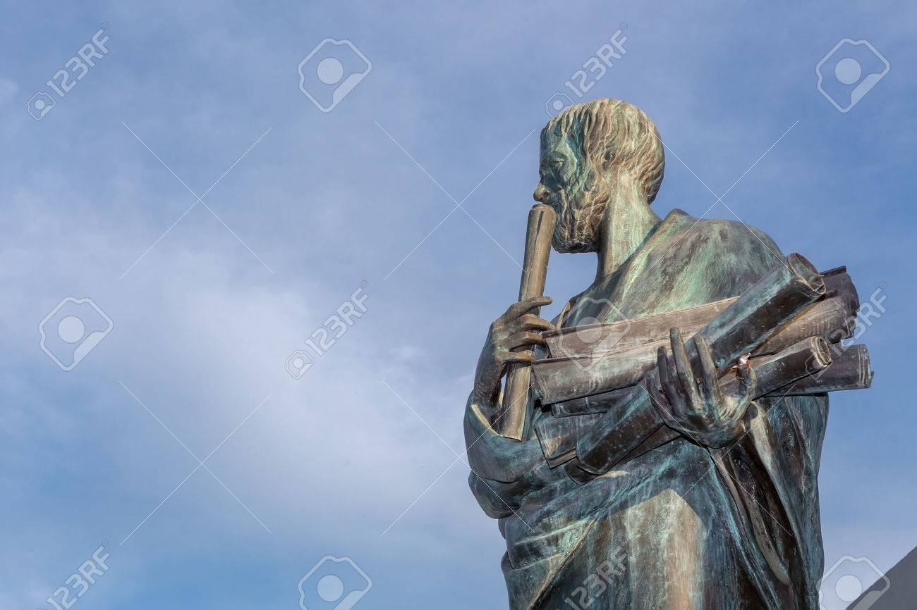 Statue d'Aristote un grand philosophe grec Banque d'images - 56882452