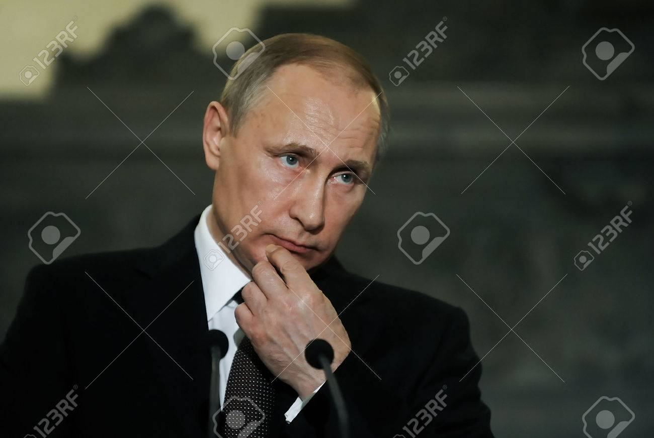 Athens, Greece - May 27, 2016: President of the Russian Federation Vladimir Putin during a joint press conference on the visit to Greece Standard-Bild - 57383722