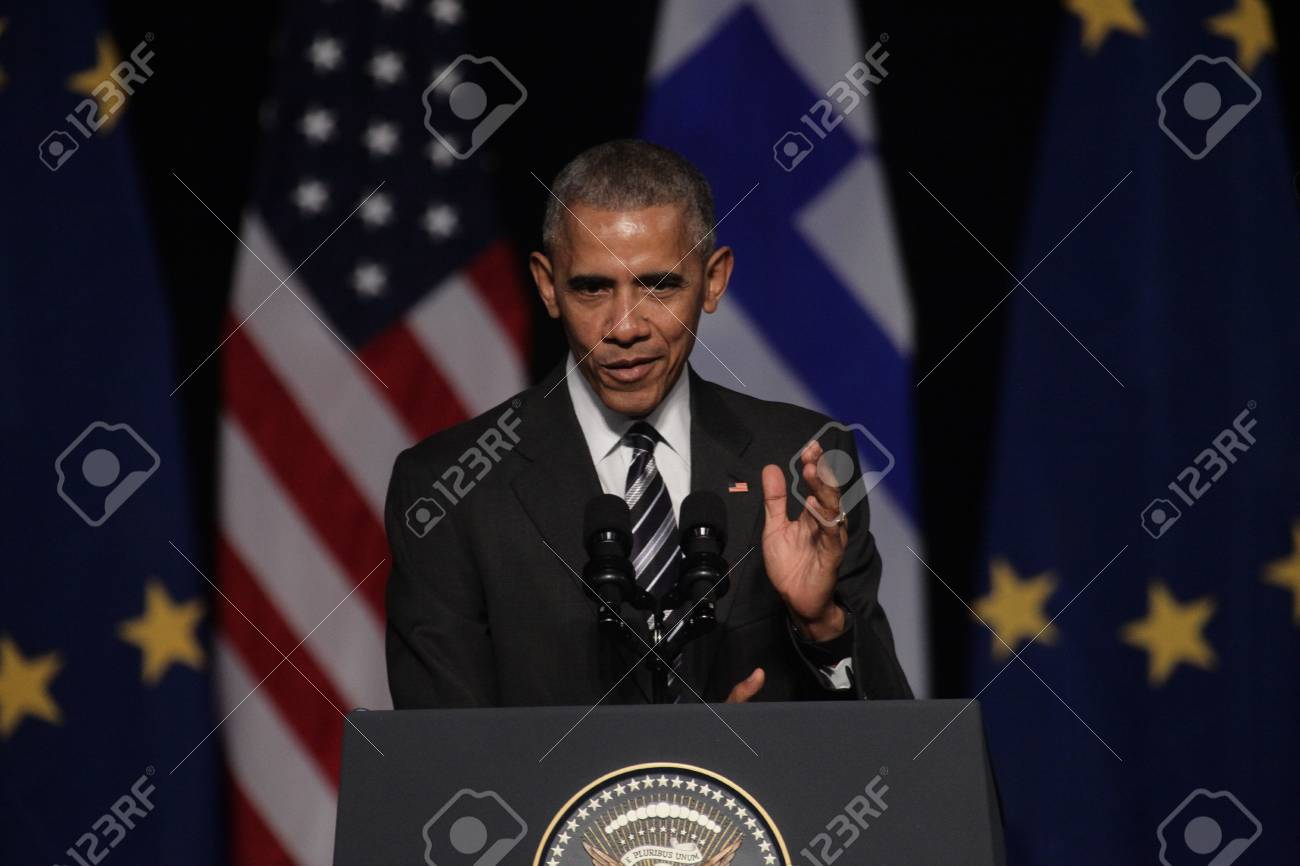 Athens, Greece, Nov 16, 2016:U S  President Barack Obama waves