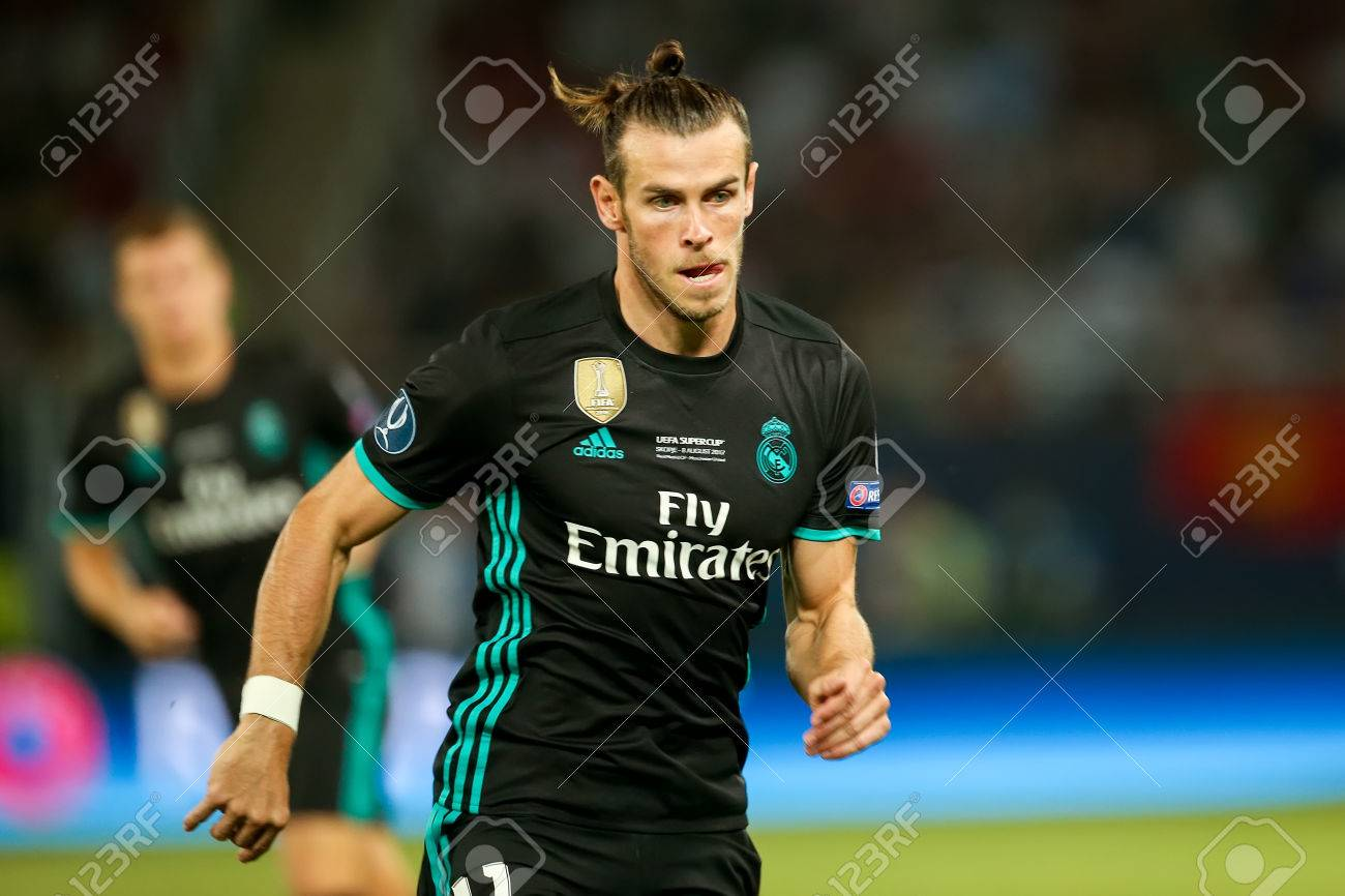 skopje fyrom august 8 2017 real madrid gareth bale during