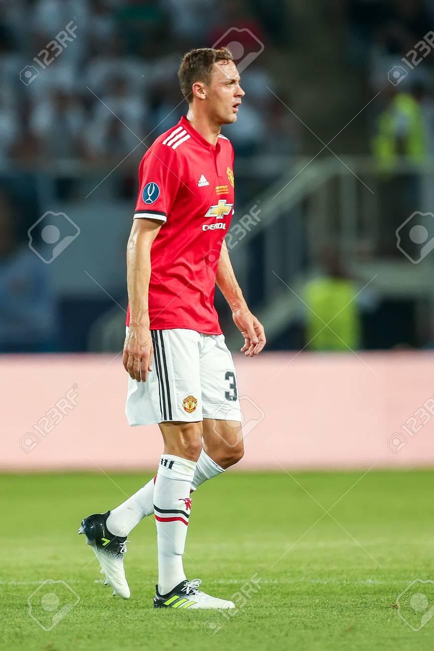 Skopje FYROM August 8 2017 Manchester United Nemanja Matic