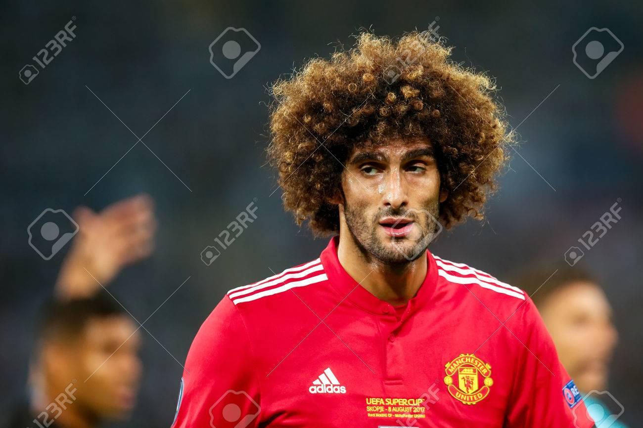 Skopje FYROM August 8 2017 Manchester United Marouane Fellaini