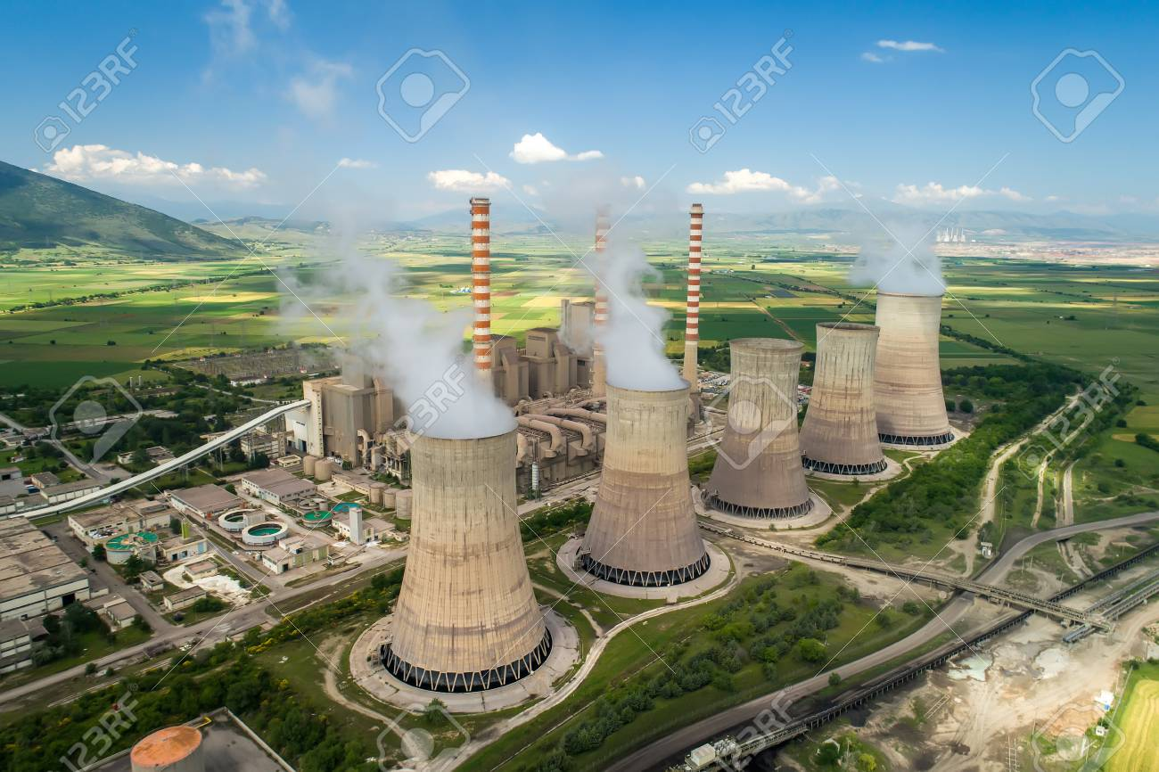 Aerial view the plant producing electrical energy with large pipes at Kozani in northern Greece. - 102980886