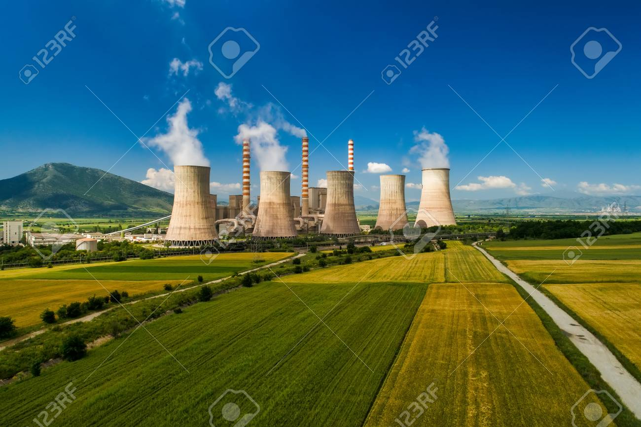 Aerial view the plant producing electrical energy with large pipes at Kozani in northern Greece. - 102934575
