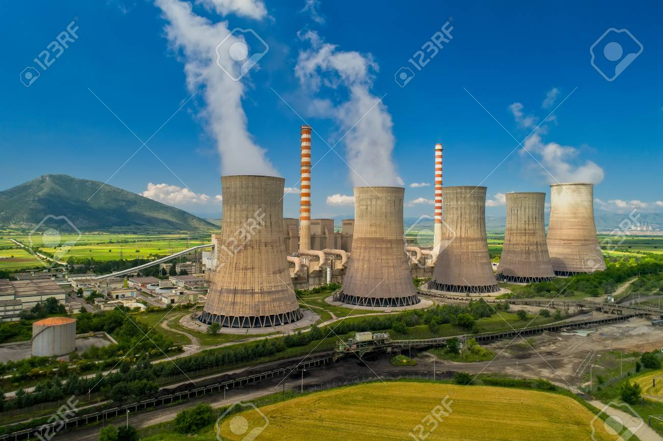 Aerial View The Plant Producing Electrical Energy With Large Pipes What Is A At Kozani In Northern Greece