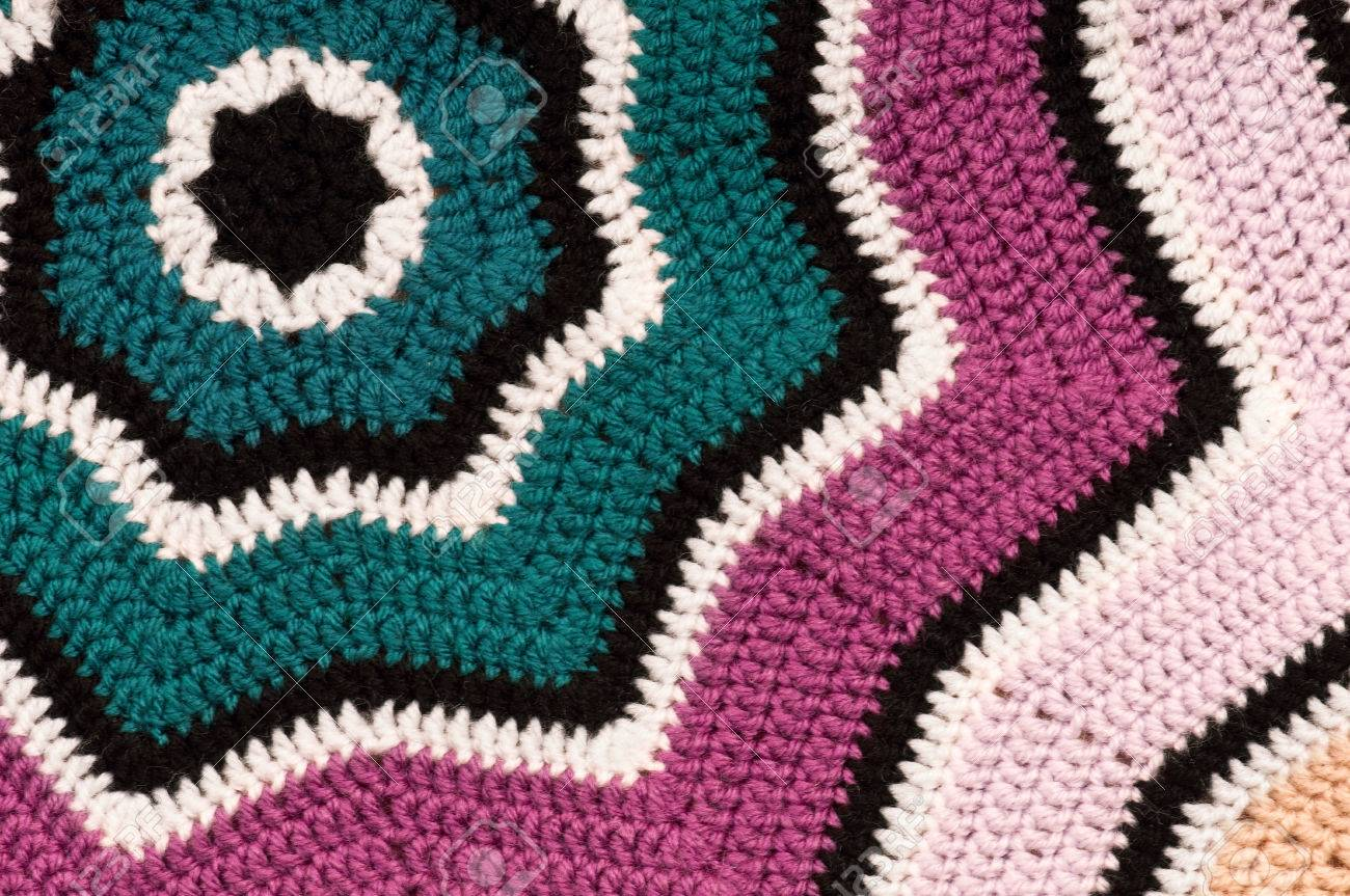 Crocheted Striped Star Shaped Blanket Background Detailed Stock