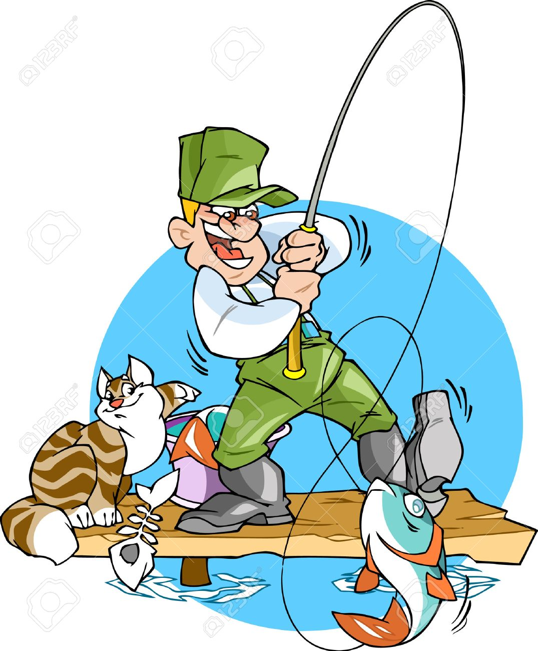 a fisherman catches a fish.he is holding a fishing rod with a, Fishing Rod