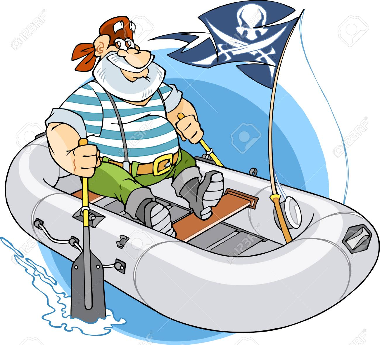 Man floats in inflatable boat.Inside the boat a pirate flag and man is looking for adventure. Stock Vector - 8701299