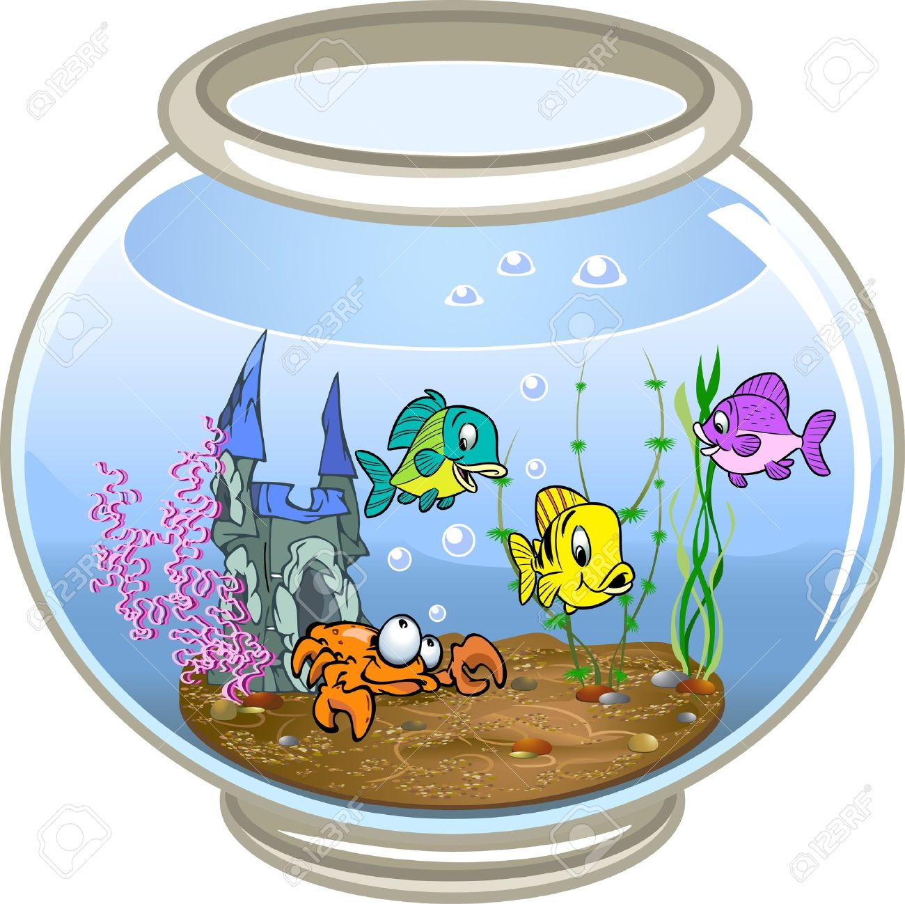 Hermosos Peces Nadan En Una Pecera Con Aguaen La Parte Inferior Del
