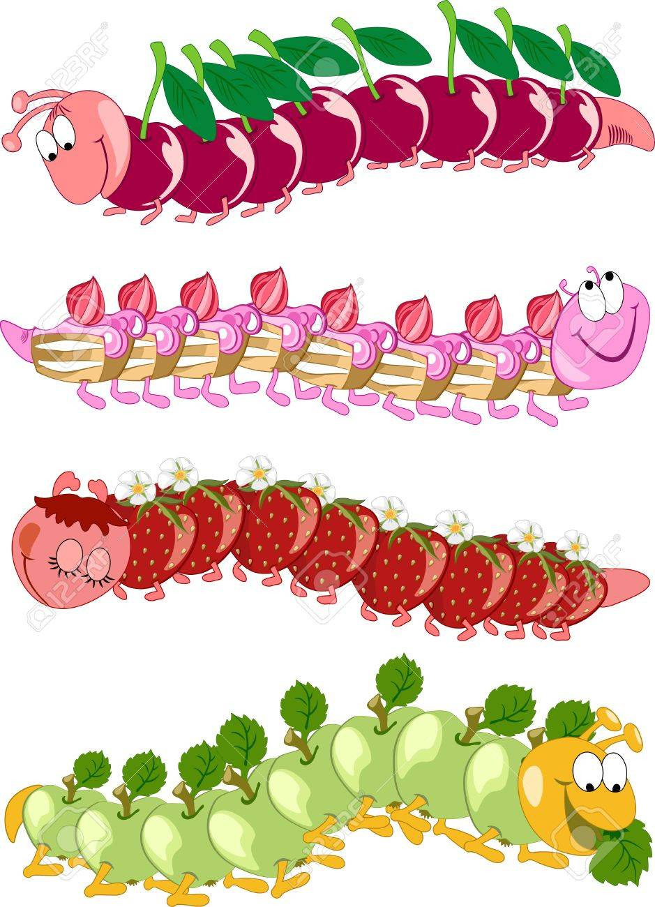 Several funny cartoon caterpillars, consisting of fruits and sweets.An illustration is divided into layers on a white background. Stock Vector - 9481800