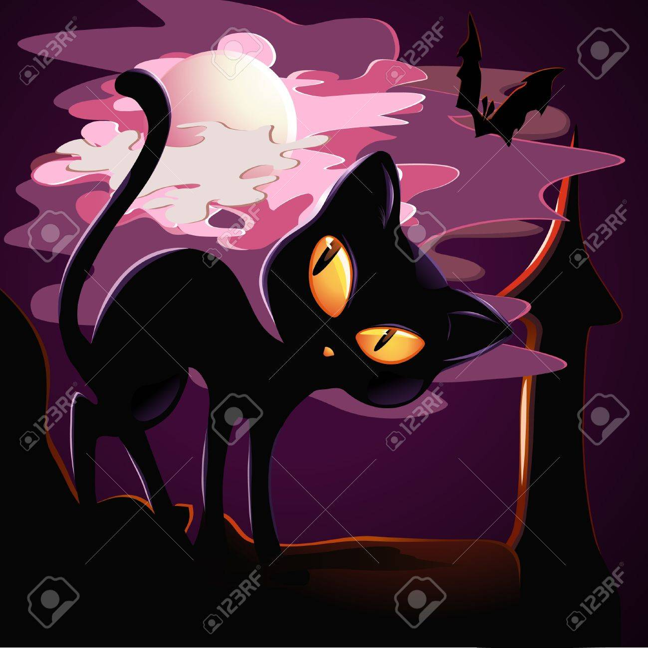 black kitten on the roof in Halloween. Stock Vector - 9685763