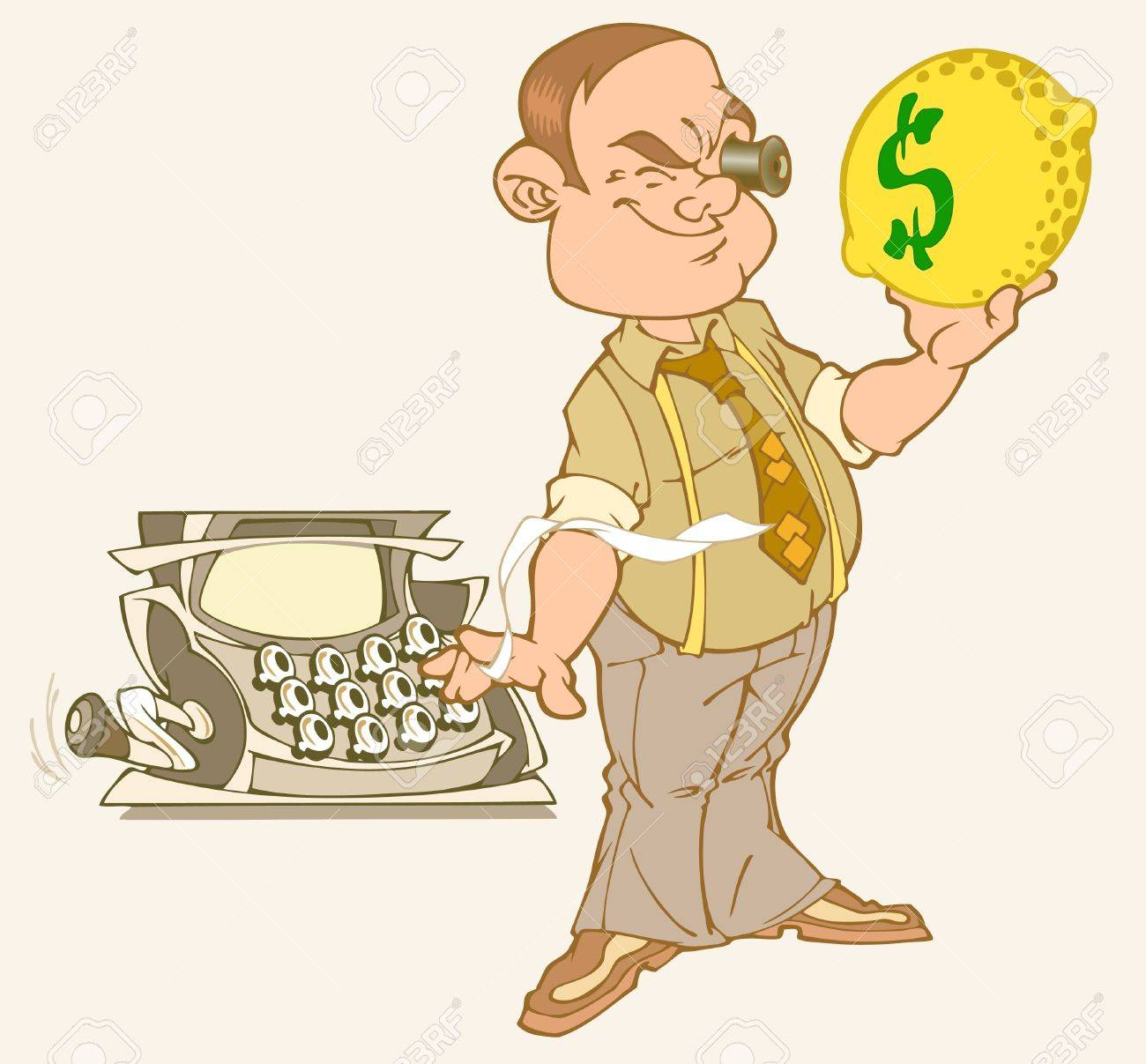 A man holding a lemon with a dollar sign.He looks at it in a monocle.Nearby is the cash register. Stock Vector - 10100957