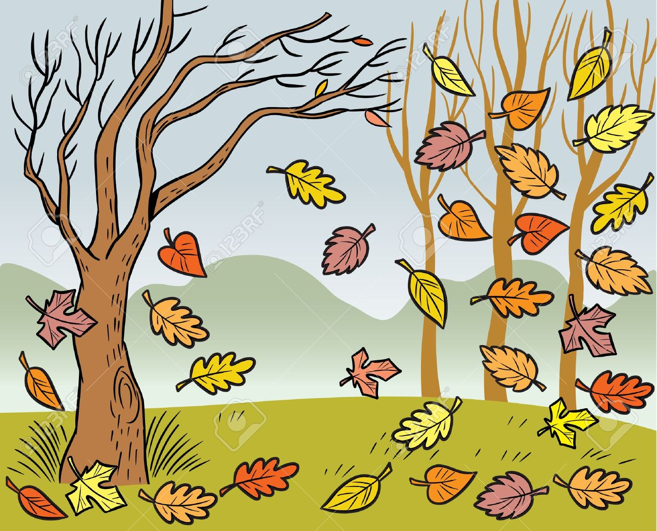 The illustration presented in autumn landscape and defoliation. Stock Vector - 10667753