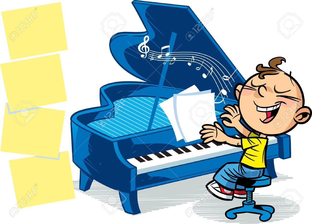 La Ilustración Presentada Al Niño Que Toca El Piano Ilustraciones ...