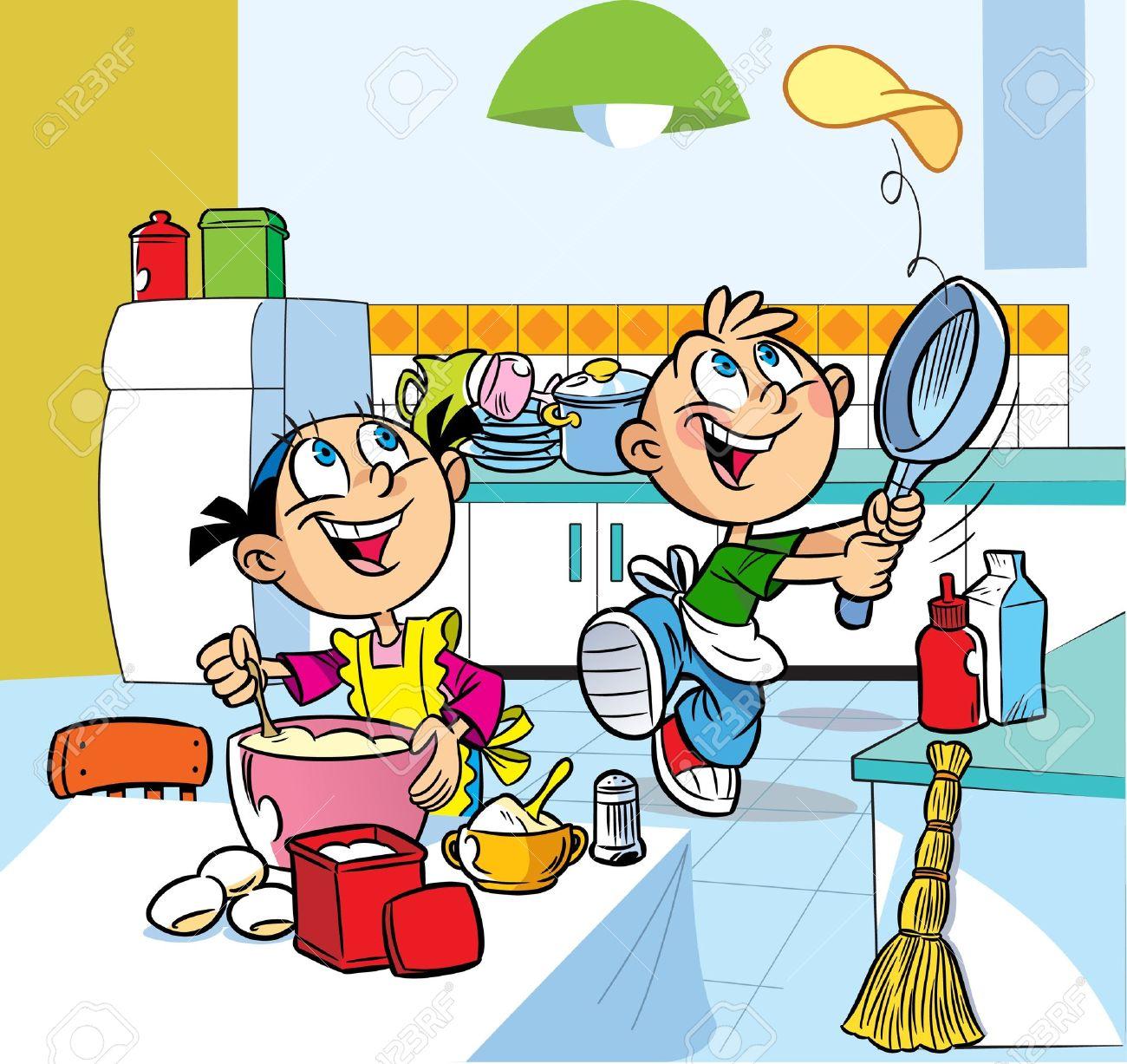 In Der Küche Cartoon Jungen Und Mädchen Sind Frittierte Pfannkuchen ...