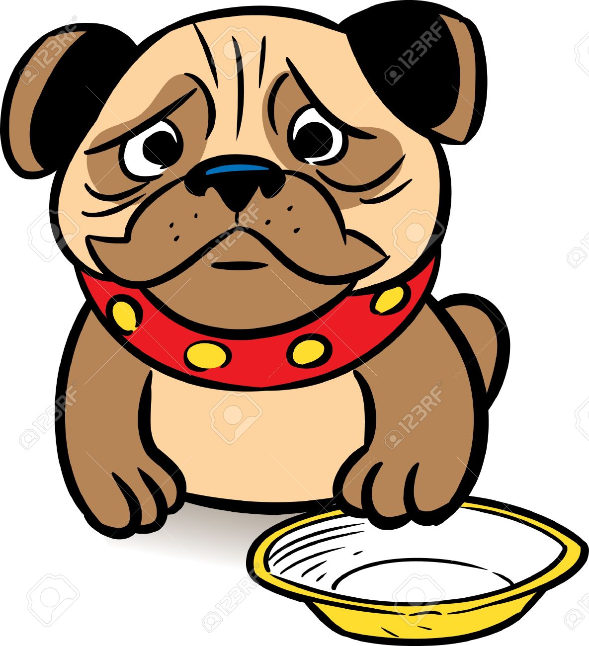The picture shows a sad puppy pug asks a meal in a bowl.Illustration is presented in cartoon style, on a white background. Stock Vector - 11275795