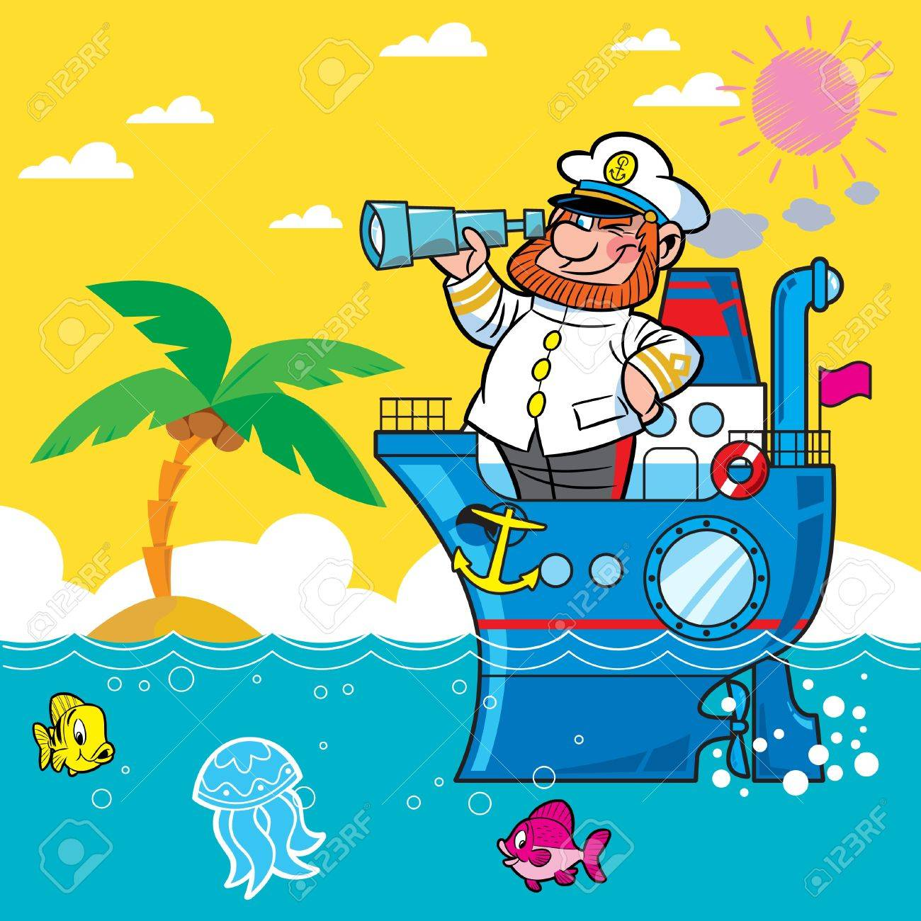 Cartoon captain on a ship sailing on the sea .. He looks through his binoculars. Against the backdrop of beach and palm trees. Stock Vector - 11376397
