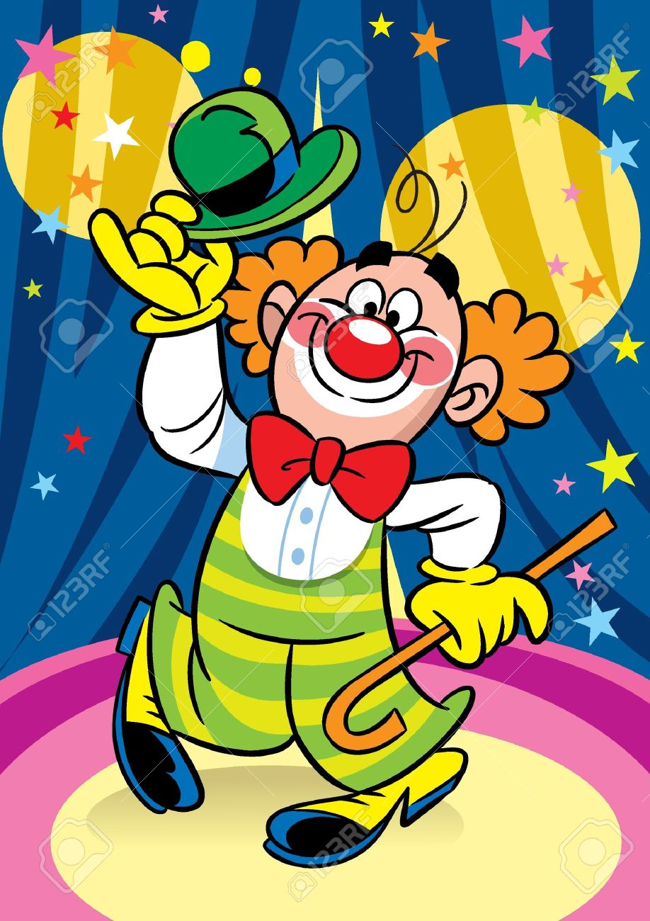 Funny clown performs at the circus arena. Stock Vector - 12368880