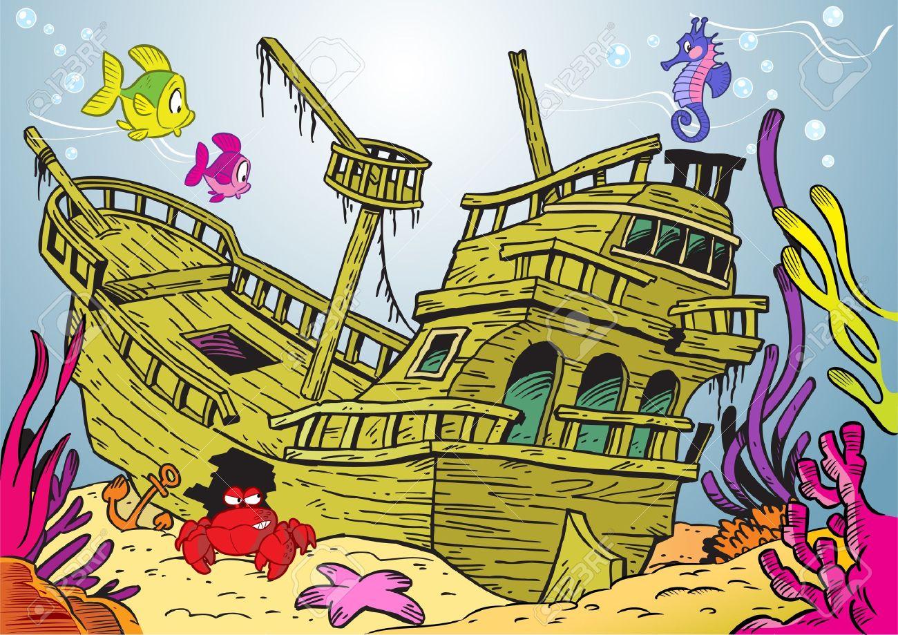 Затонувший кораблик на дне рисунок детей