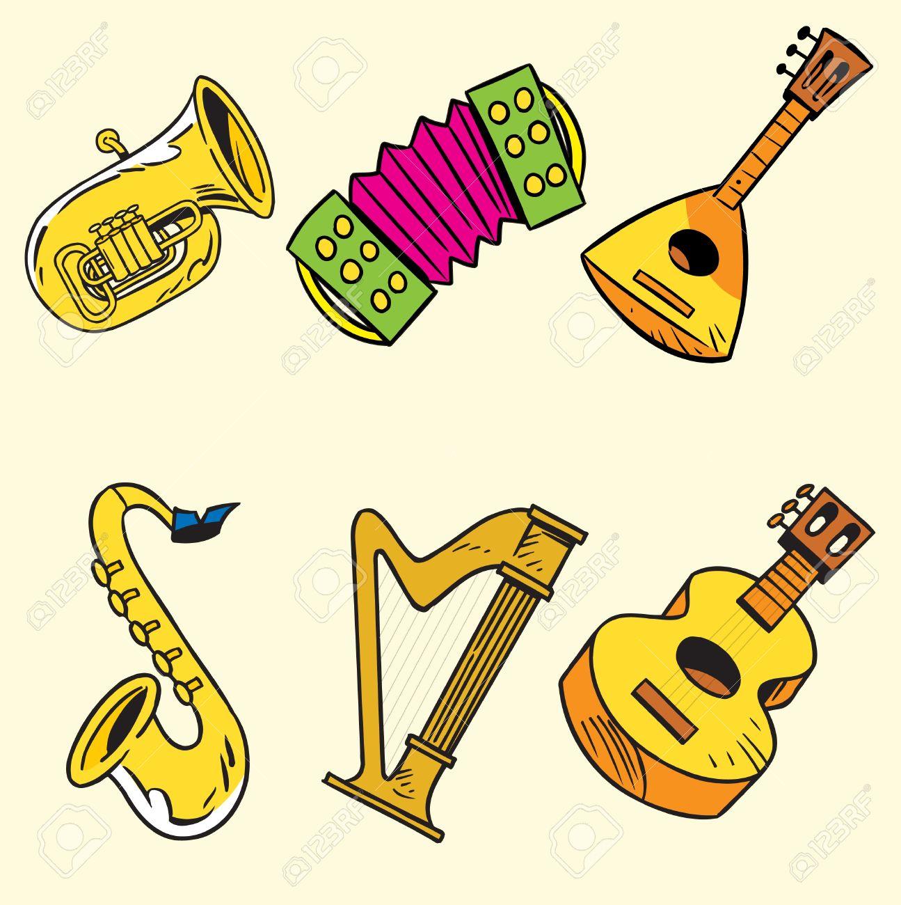 d559e91a988b Foto de archivo - La ilustración muestra algunos instrumentos musicales de  cuerda y viento. Ilustración realizada en capas separadas en un estilo de  dibujos ...