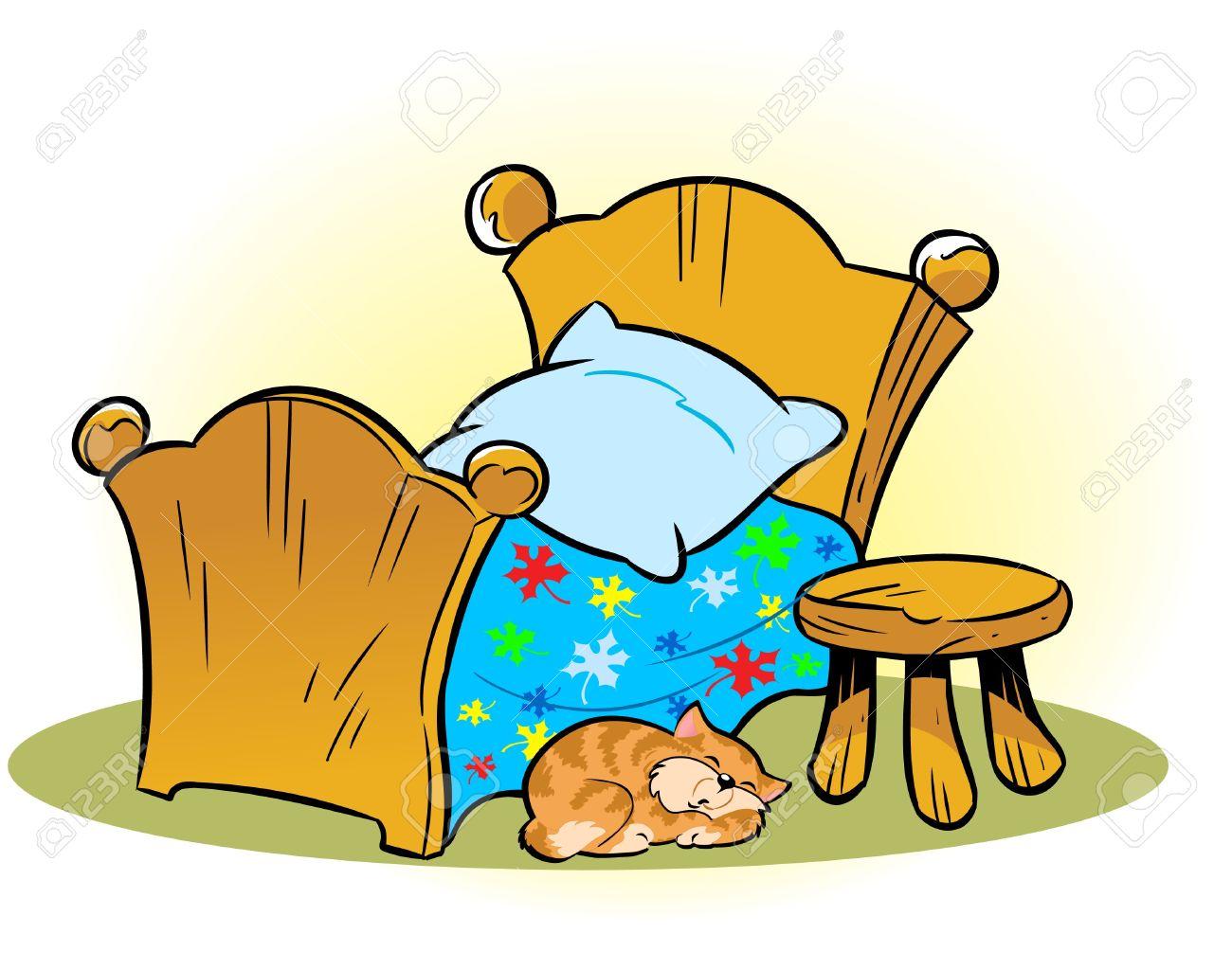 Die Abbildung Zeigt Einen Kleinen Holzernen Bett Und Einen Stuhl Auf