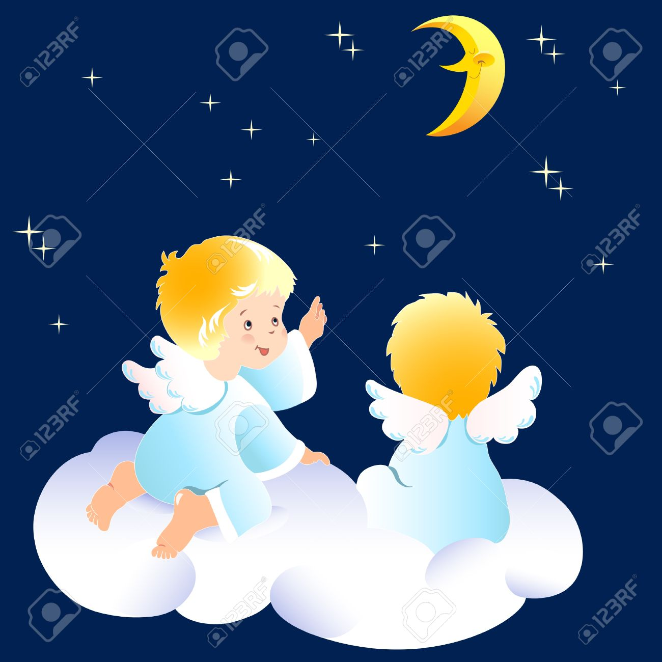 Cute little angels sitting on clouds. They look at the night sky and indicate to the moon. Illustration done on separate layers. Stock Vector - 18083018
