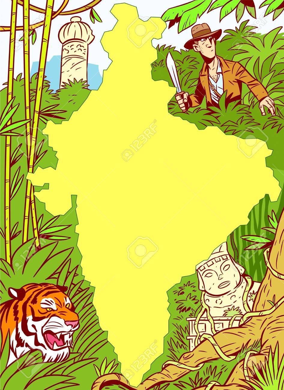 La Ilustración Muestra El Continente Africano En Medio De La Selva ...