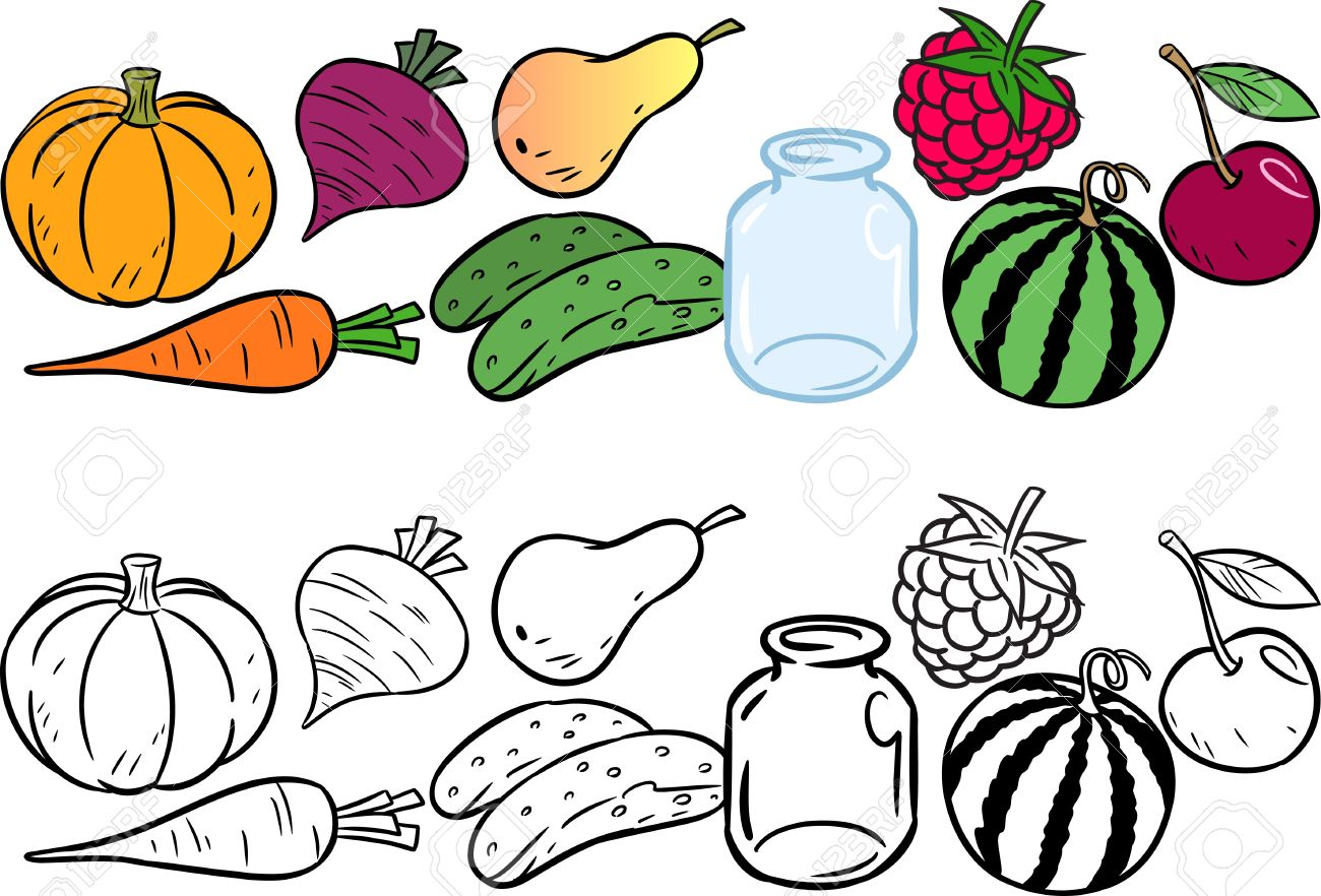 The Illustration Shows Coloring Book Of Fruits And Vegetables Done In Cartoon Style