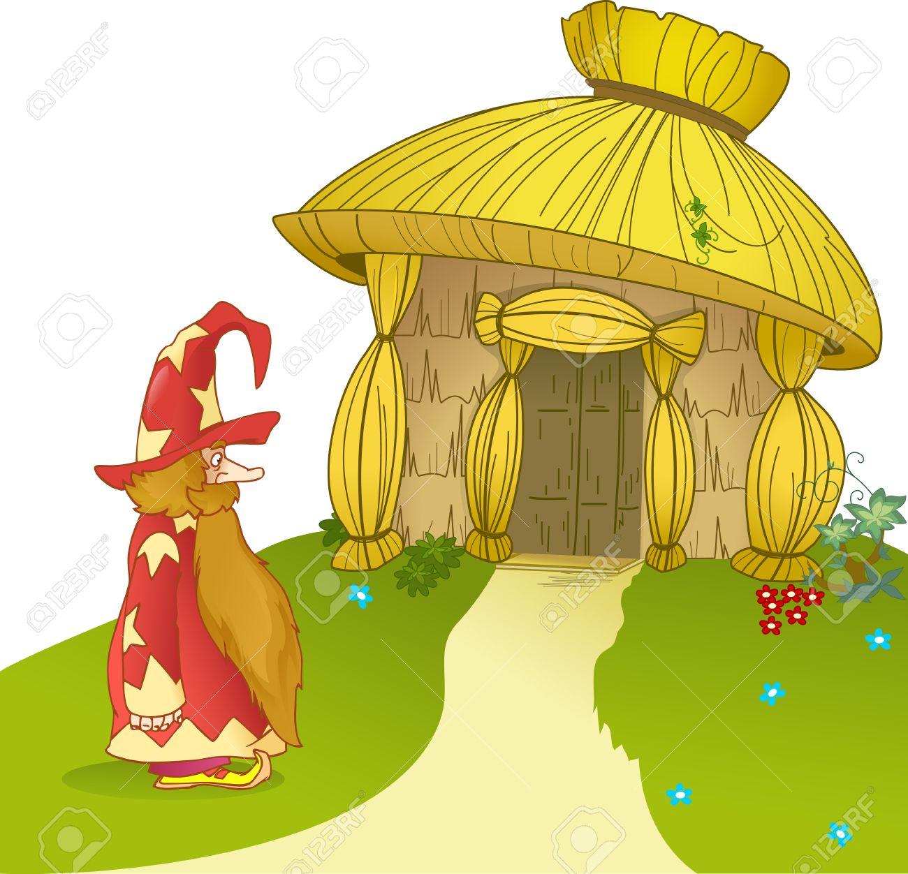 Lillustration montre fabuleuse maison de paille et de bande dessinée drôle gnome illustration peut être un fond de jeu pour représenter les caractères de