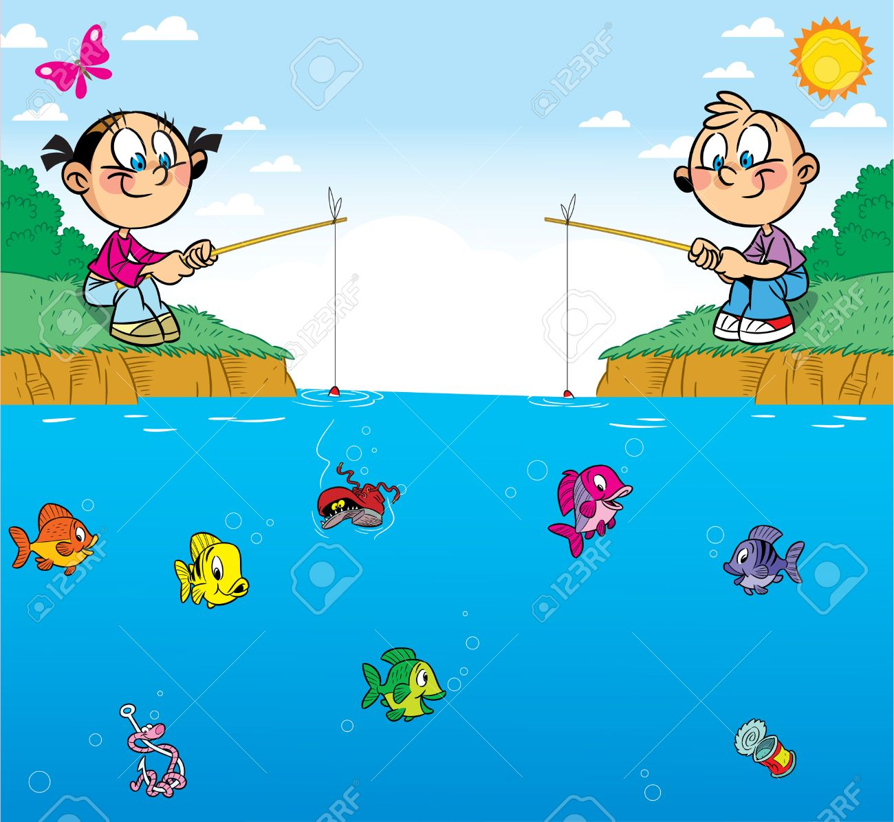 the illustration shows a boy and girl on the pond they are the illustration shows a boy and girl on the pond they are passionate about fishing in
