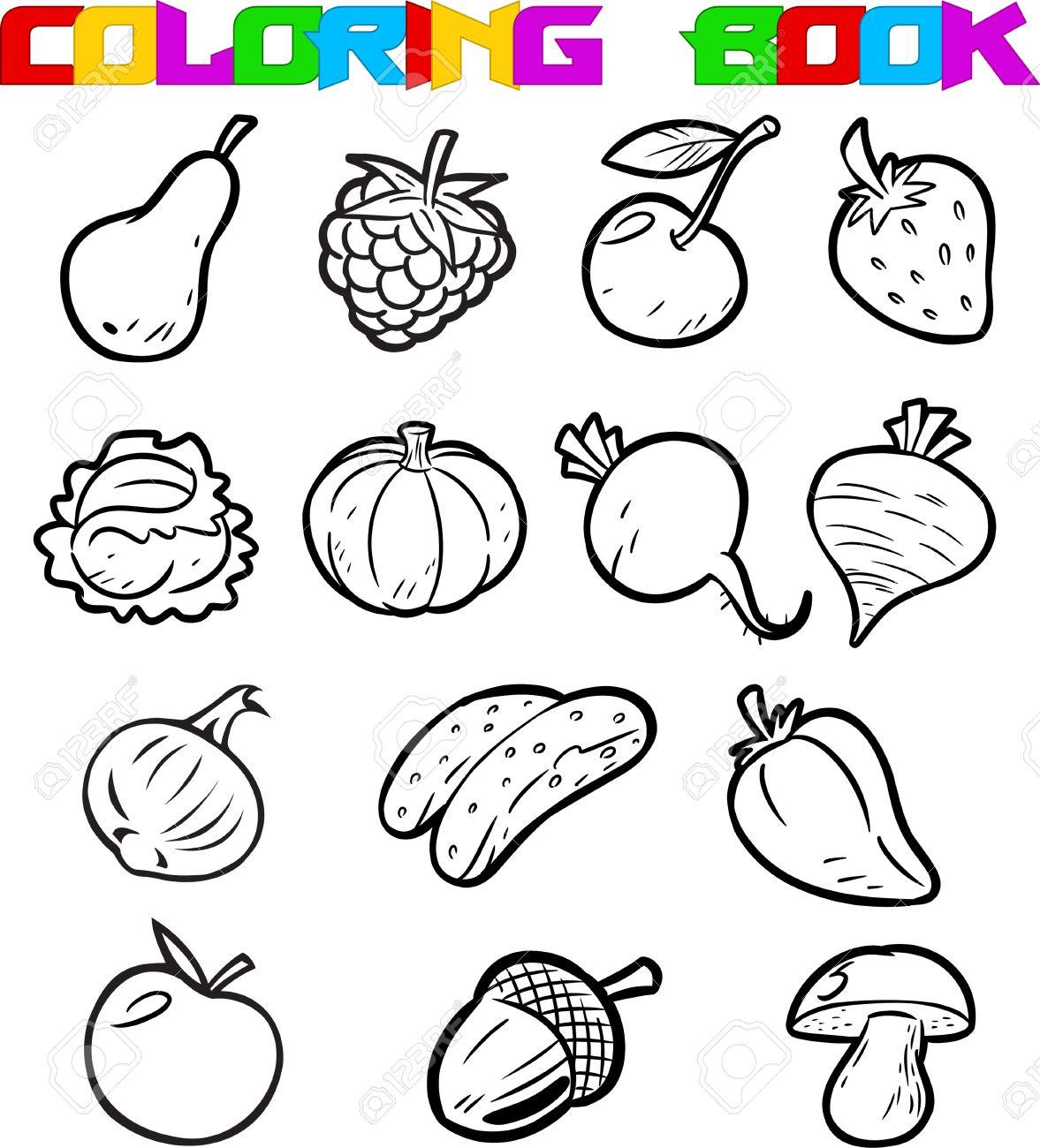 La Ilustración Muestra Las Frutas Y Verduras De Dibujos Animados