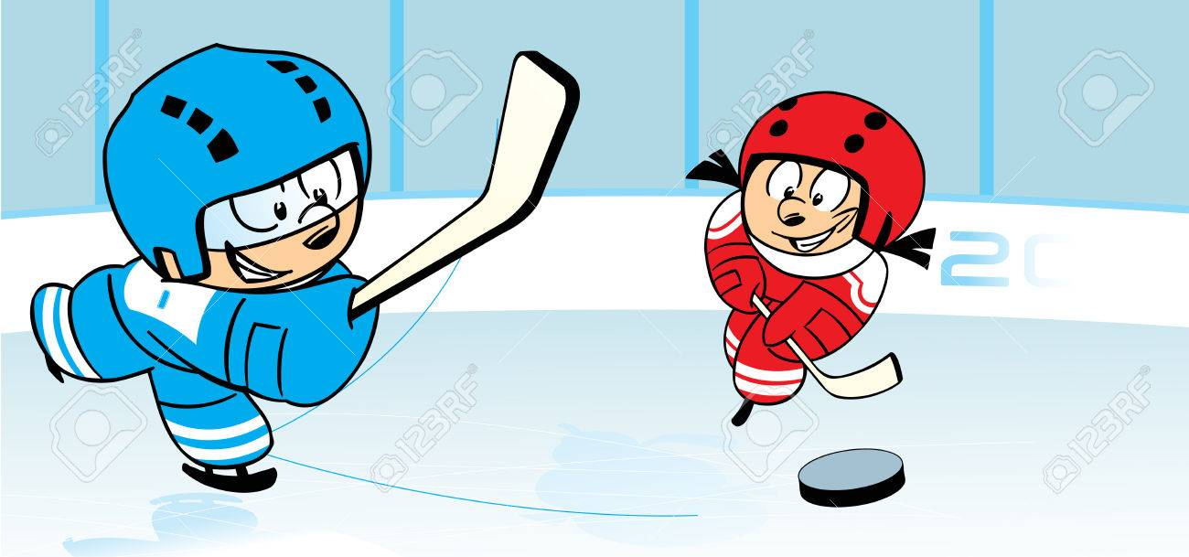 The Illustration Shows Children Who Play Hockey On Ice Stadium Royalty Free Cliparts Vectors And Stock Illustration Image 35481413