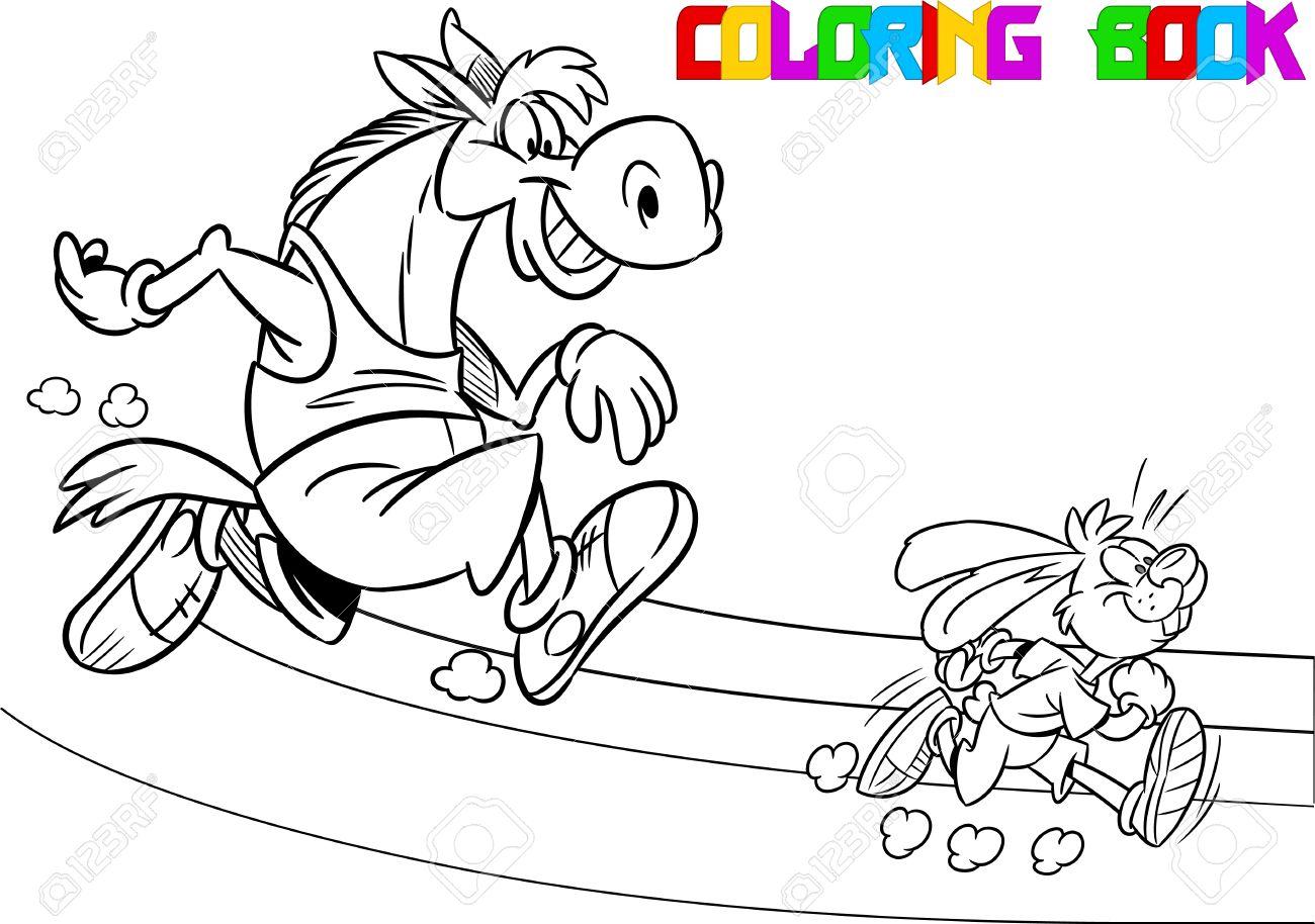 La Ilustración Muestra El Caballo Y La Liebre Que Compiten, Que ...