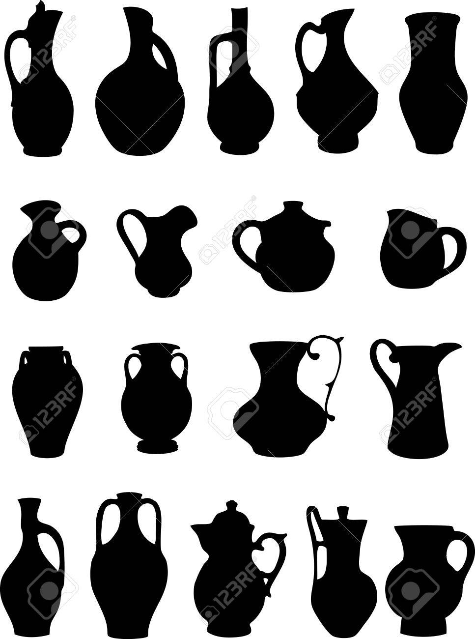 the illustration shows a group of ancient and modern pitchers