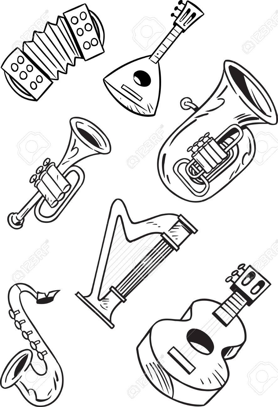 72a51915b827 Foto de archivo - La ilustración muestra algunos instrumentos musicales de  cuerda y viento. Ilustración hecho en capas separadas, contorno negro, ...