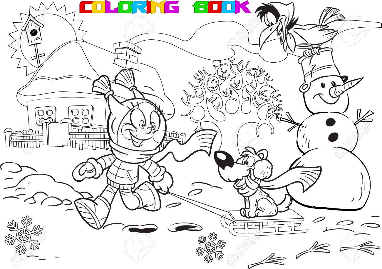 La Ilustración Muestra A Un Niño Durante Las Vacaciones De Invierno Niña Jugando En El Patio Con Un Perro Y Un Muñeco De Nieve Ilustración