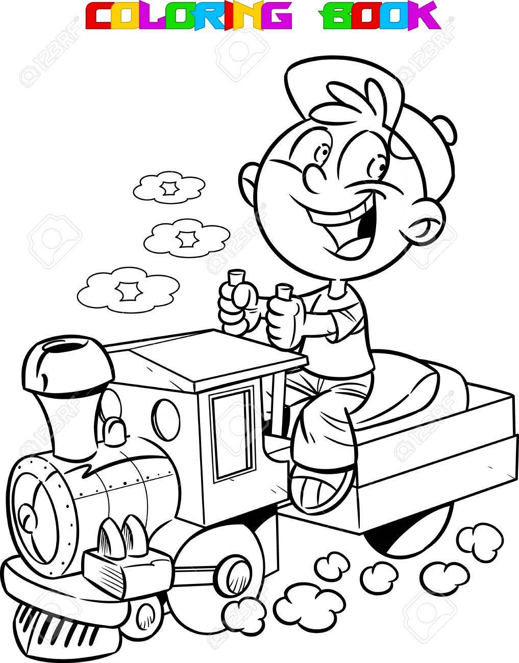 La Ilustración Muestra A Un Niño Que Juega En Ingeniero De Una ...