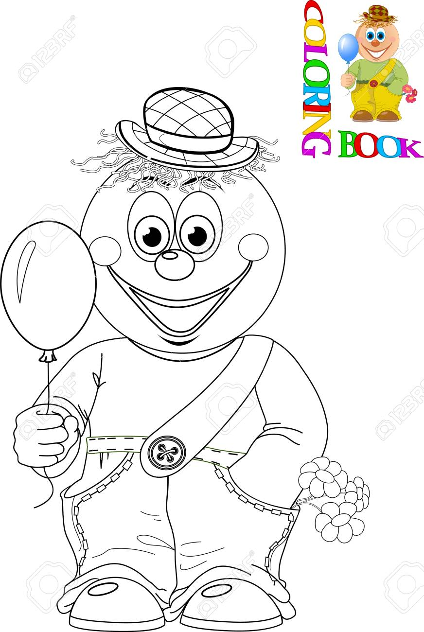 Coloriage Clown Drole.L Illustration Montre Un Clown Drole De Bande Dessinee Avec Un Ballon Dans La Main Illustration Faite Isolement Contour Noir Et Blanc Fait Pour
