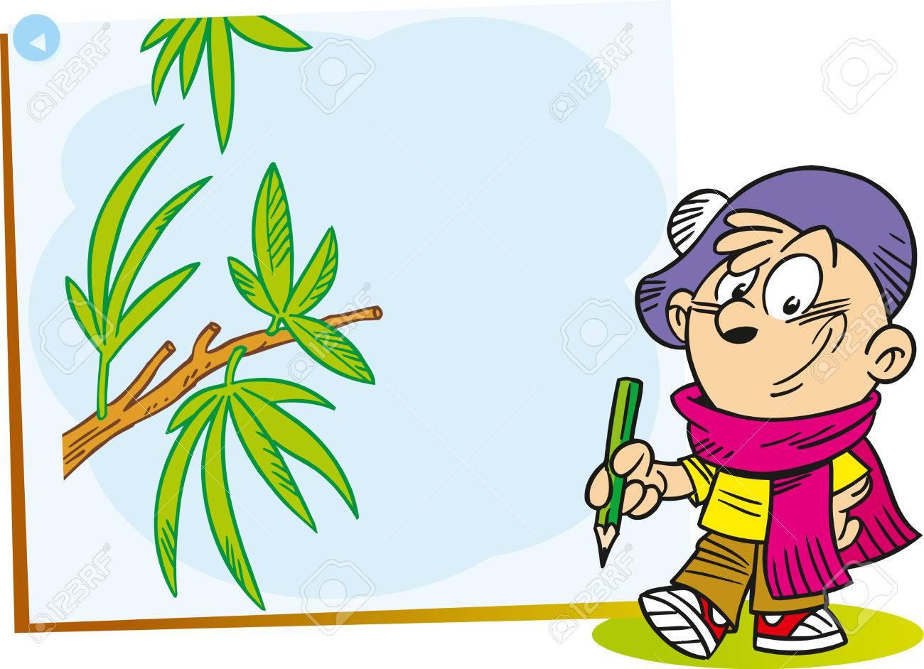 child arts artist tree people paints image cartoon paintings