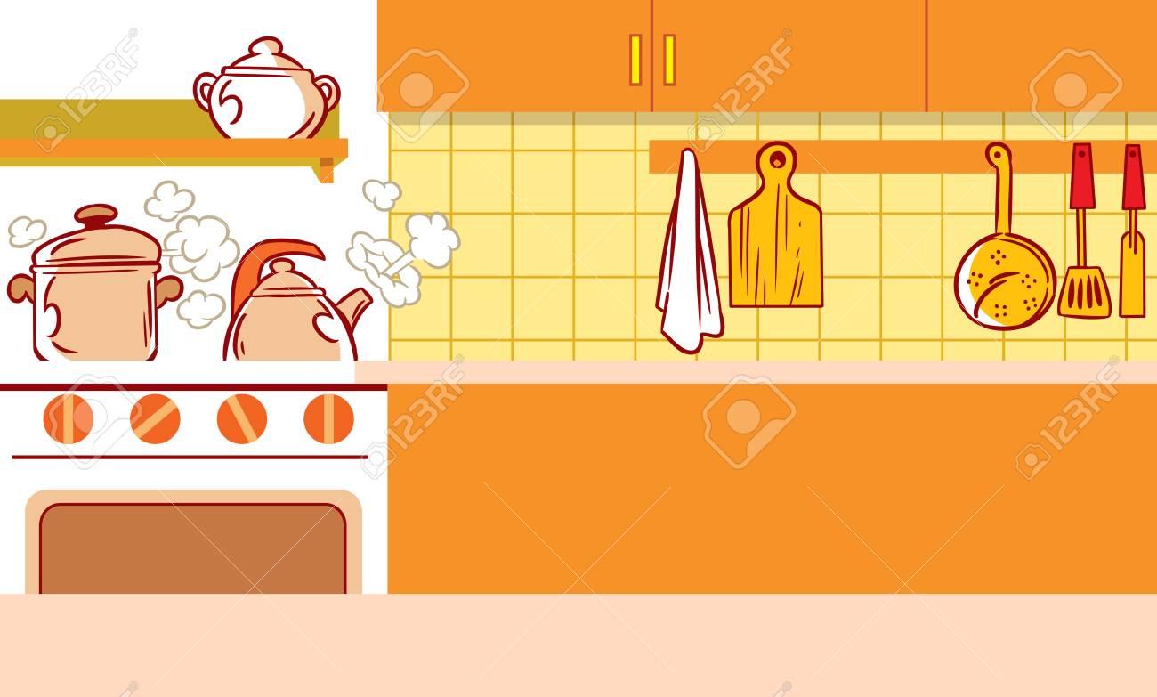 Die Abbildung Zeigt Den Innenraum Der Küche Und Küchenutensilien In ...