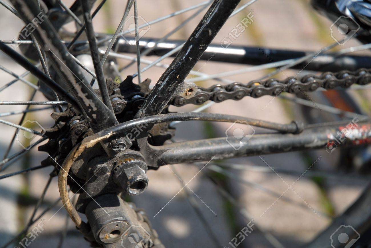 Detail Of Old Bicycle Parts Located On The Rear Wheel Stock Photo
