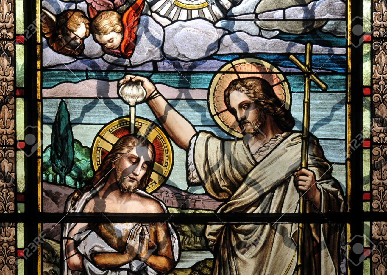 jesus christ baptism by saint john the baptist stock photo