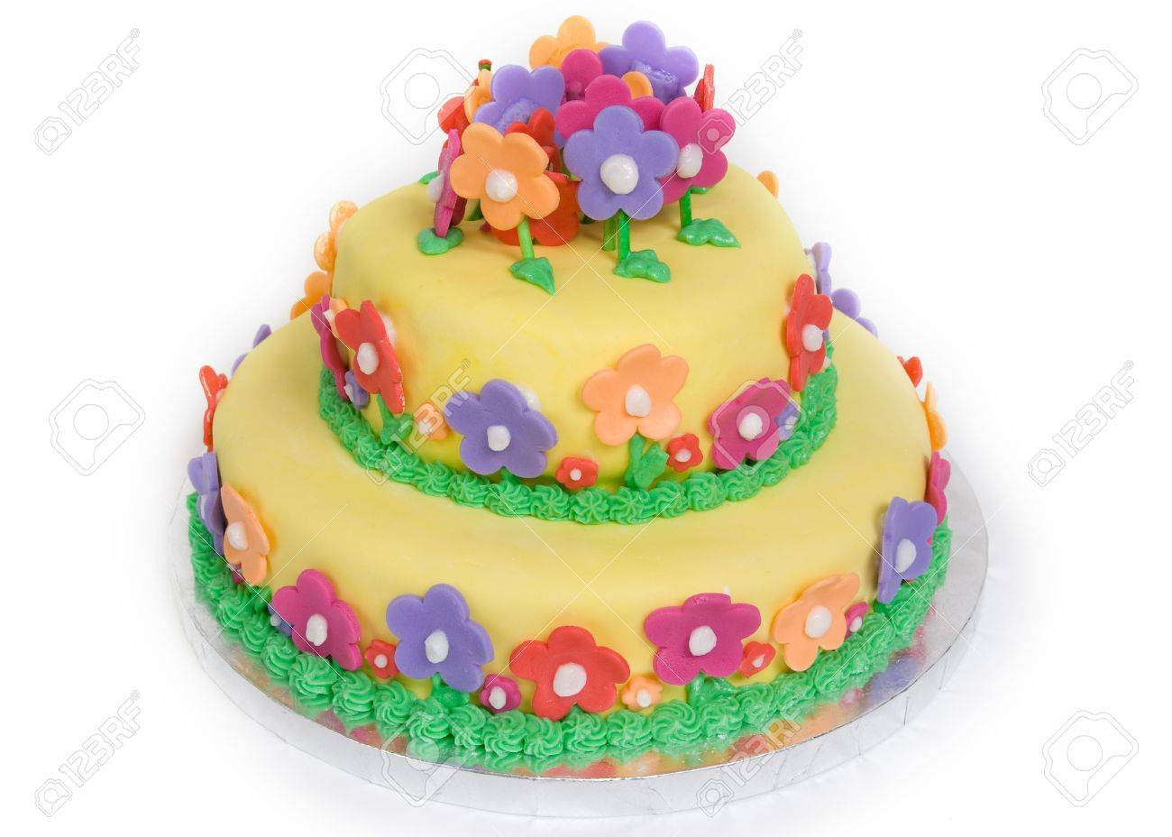 Spring Flower Cake On White Stock Photo Picture And Royalty Free