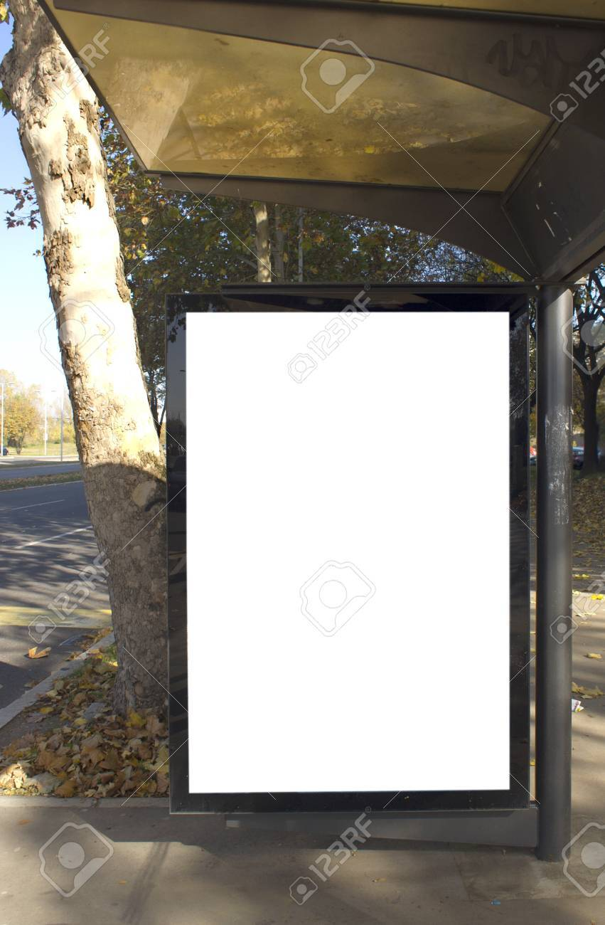 City Light On The Bus Stop Blank Space For Your Ad Stock Photo