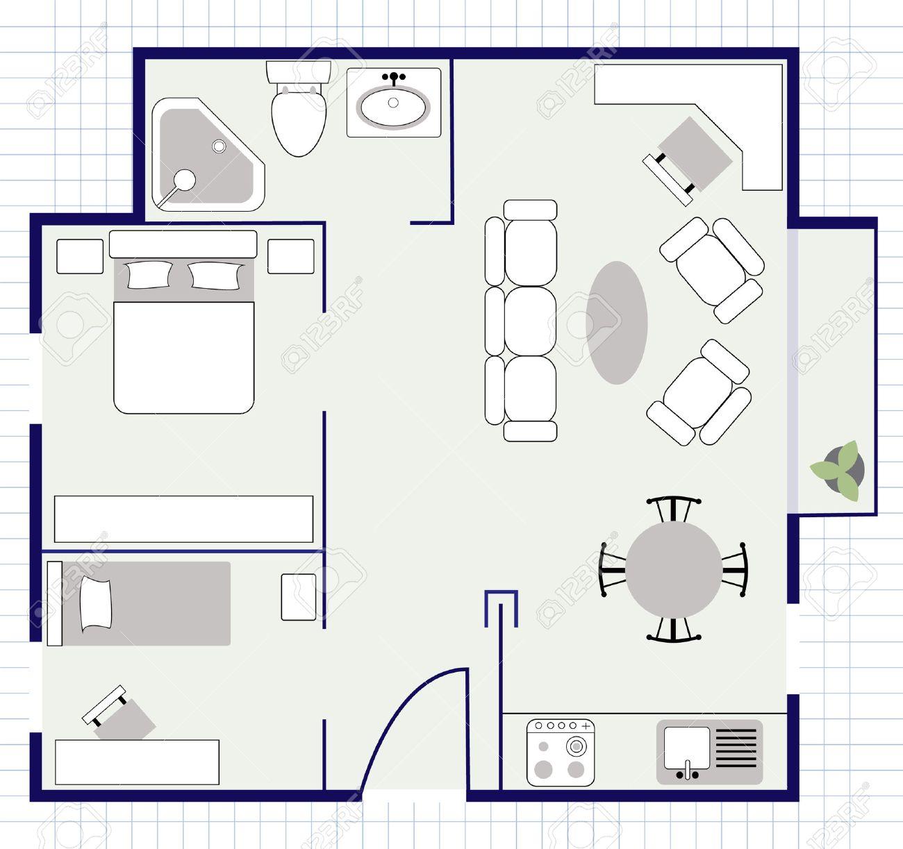 floor plan with furniture. Floor Plan With Furniture Stock Vector - 26161164 O
